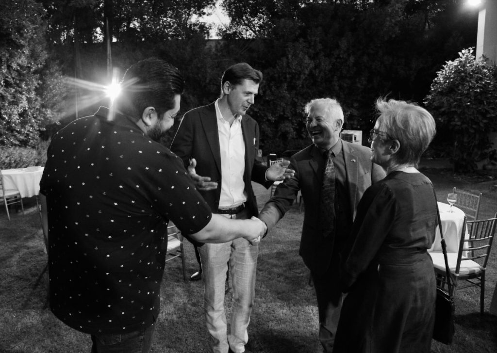 At the National Dialogue Initiative with comedian Ali Fadel, Deputy UNSR Gisladóttir and Spanish Ambassador Blecua